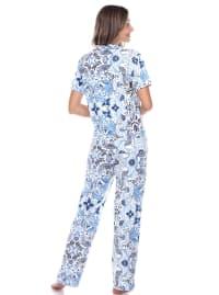 Short Sleeve & Pants Tropical Pajama Set - Back