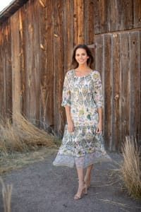 Veronica Ivory/Olive Boarder Print Peasant Dress - Misses - Back