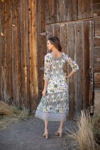 Veronica Ivory/Olive Border Print Peasant Dress - Back