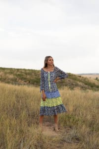 Alexa Blue/Yellow Ditsy Floral Peasant Dress - Back
