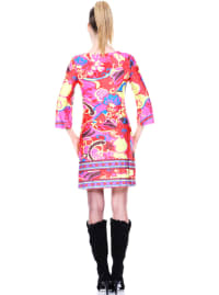 Carmen Printed V Neck Dress - Back