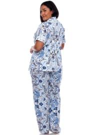 Short Sleeve & Pants Tropical Pajama Set - Plus - Back