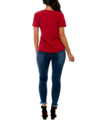 Adrienne Vittadini Short Sleeve With Keyhole Top - Back