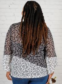 Westport Twin Print Bubble Hem Blouse - Plus - Back