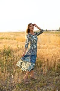 Veronica Green/Blue Tile Print Peasant Dress - Back