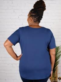 Strap Detail Cold Shoulder Knit Top - Plus - Back