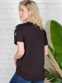 Strap Detail Cold Shoulder Knit Top - Back