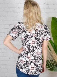 Floral Cold Shoulder Knit Top - Misses - Back