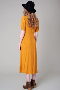 Vintage Front Slit Button Down Midi Dress - Back