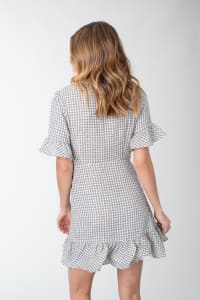 Plaid Woven Wrap with Ruffle Accent Dress - Back
