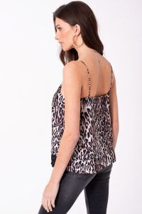 Leopard Print Satin Cami with Lace Trim Top - Back