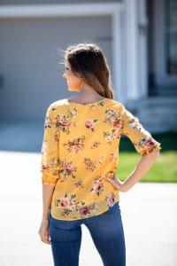 Roz & Ali Floral Clip Dot Peasant Blouse - Back