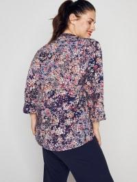 Roz & Ali Floral Vine Pintuck Popover - Plus - Back