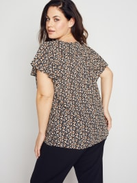 Roz & Ali Chain Trim Flutter Sleeve Blouse - Plus - Back