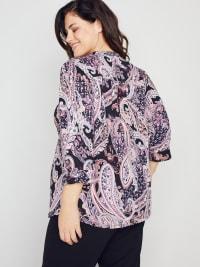 Roz & Ali Paisley Floral Pintuck Popover - Plus - Back