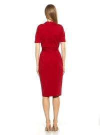 High Neck Front Slit Sheath Dress - Back