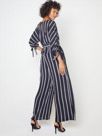 Stripe Jumpsuit with Belt - Back