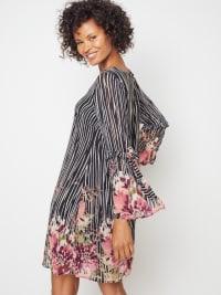 Floral Border Chiffon Dress - Back