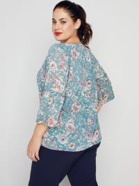 Roz & Ali Flare Sleeve Floral Bubble Hem Blouse - Plus - Back