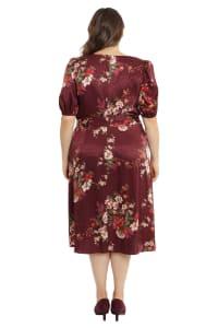 Deb Floral Pebble Jacquard Dress - Plus - Back