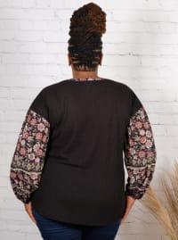 Westport Mix Media Thermal Knit Top - Plus - Back