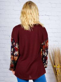Westport Burgundy Mix Media Thermal Knit Top - Back