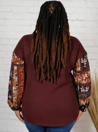 Westport Burgundy Mix Media Thermal Knit Top - Plus - Back