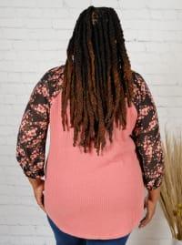 Westport Mauve Floral Mix Media Knit Top - Plus - Back