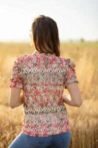 Roz & Ali Puff Sleeve Vertical Print Blouse - Back