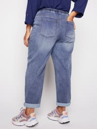 Knit Denim Weekender Sweatpants with Pocket and Drawstring Waist - Plus - Back