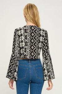 Tie Front Bell Sleeve Crop Cardigan Top - Back