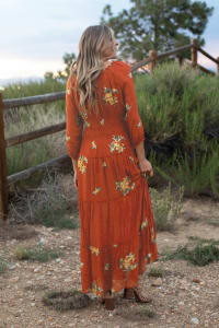 Veronica Embroidered Terracotta Peasant Dress - Back