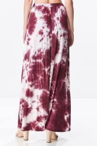 Front Open Tie Dye Rayon Spandex Maxi Skirt - Back