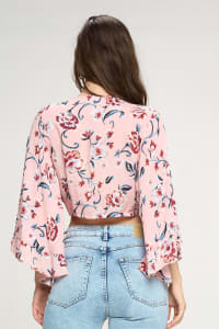 Tie Front Crop With Wide Ruffle Sleeves Cardigan - Back