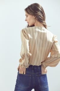 Tie Front Crop With Stripe Print Cardigan - Back