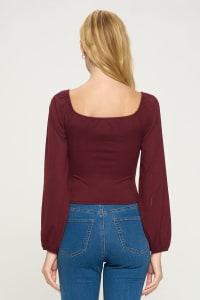 Scoop Neck Ruched Waist Long Sleeve Emma Top - Back