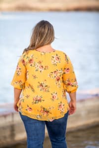 Roz & Ali Floral Clip Dot Peasant Blouse - Plus - Back