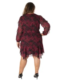 Printed Floral V-Neck Chiffon Dress - Plus - Back