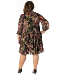 Printed Floral Mock Neck Chiffon Dress - Plus - Back