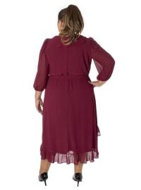 Hi-Low V-Neck Ruffle Tie Dress - Plus - Back