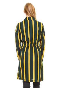 Trench Coat Multi Stripe Long Line Belted Jacket - Back