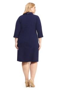 Side Pleat Wrap Shirt Dress - Plus - Back
