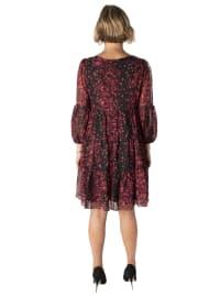3/4 Sleeve Printed Clipdot Chiffon Dress - Back