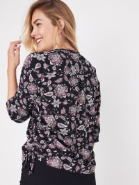 Roz & Ali Floral Side Tie Popover Blouse - Back