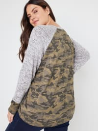 Wonder Blossom Camouflage Hacci Sweater Knit- Plus - Back
