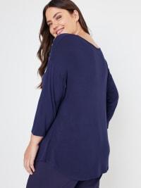 Westport V-Neck Puff Print Knit Top - Plus - Back