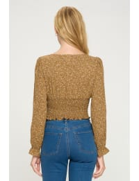 Ditsy Sqaure Neck Smock Long Sleeve Top - Back