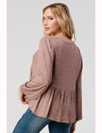 V Neck Shirred High Low With Long Sleeves In Ditsy Babydoll Top - Back