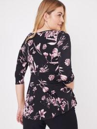 Westport Floral Asymmetrical Knit Top - Back