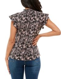 Adrienne Vittadini Flutter Sleeve Hacci Smocked Neck Top - Back